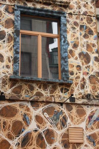 Edificio decorado en Bruselas, detalle